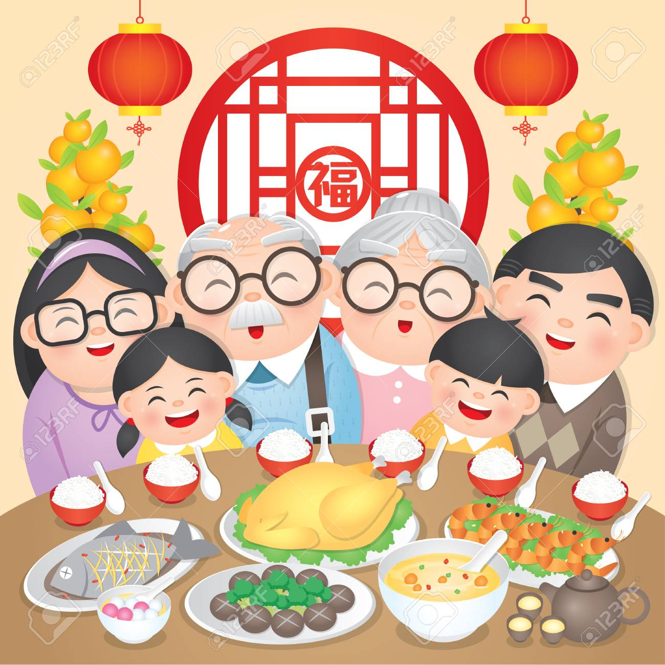Chinese New Year Family Reunion Dinner Vector Illustration with delicious dishes, (Translation: Chinese New Year Eve, Reunion Dinner) - 114078808