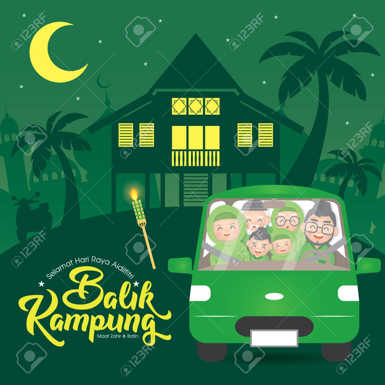 Hari Raya Aidilfitri & Balik Kampung is an important religious holiday celebrated by Muslims worldwide that marks the end of Ramadan, also known as Eid al-Fitr. (Translation: Return Home Reunion ) - 122196438