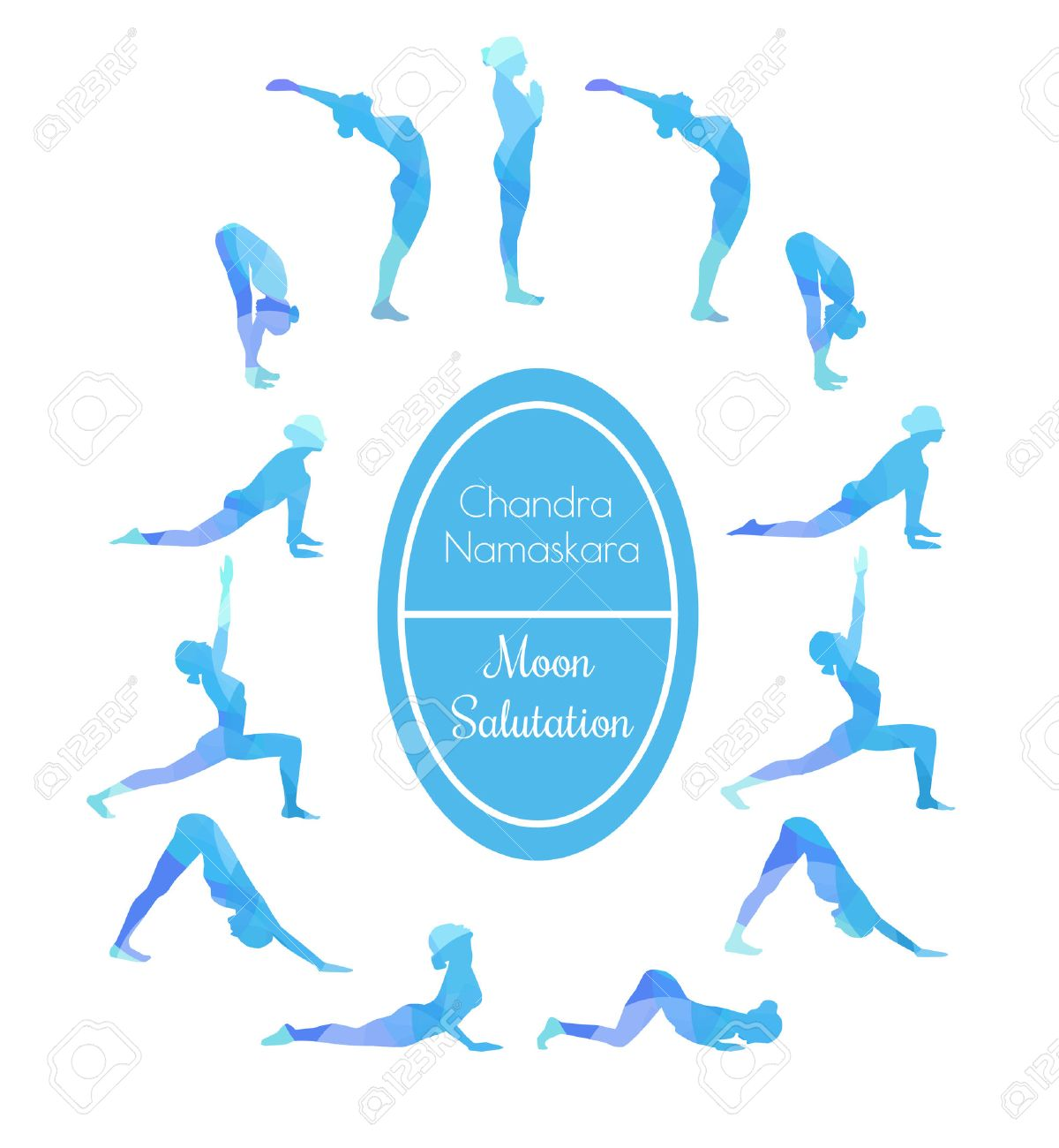 Vector Illustration Of Yoga Exercise Moon Salutation Chandra Royalty Free Cliparts Vectors And Stock Illustration Image 44712579