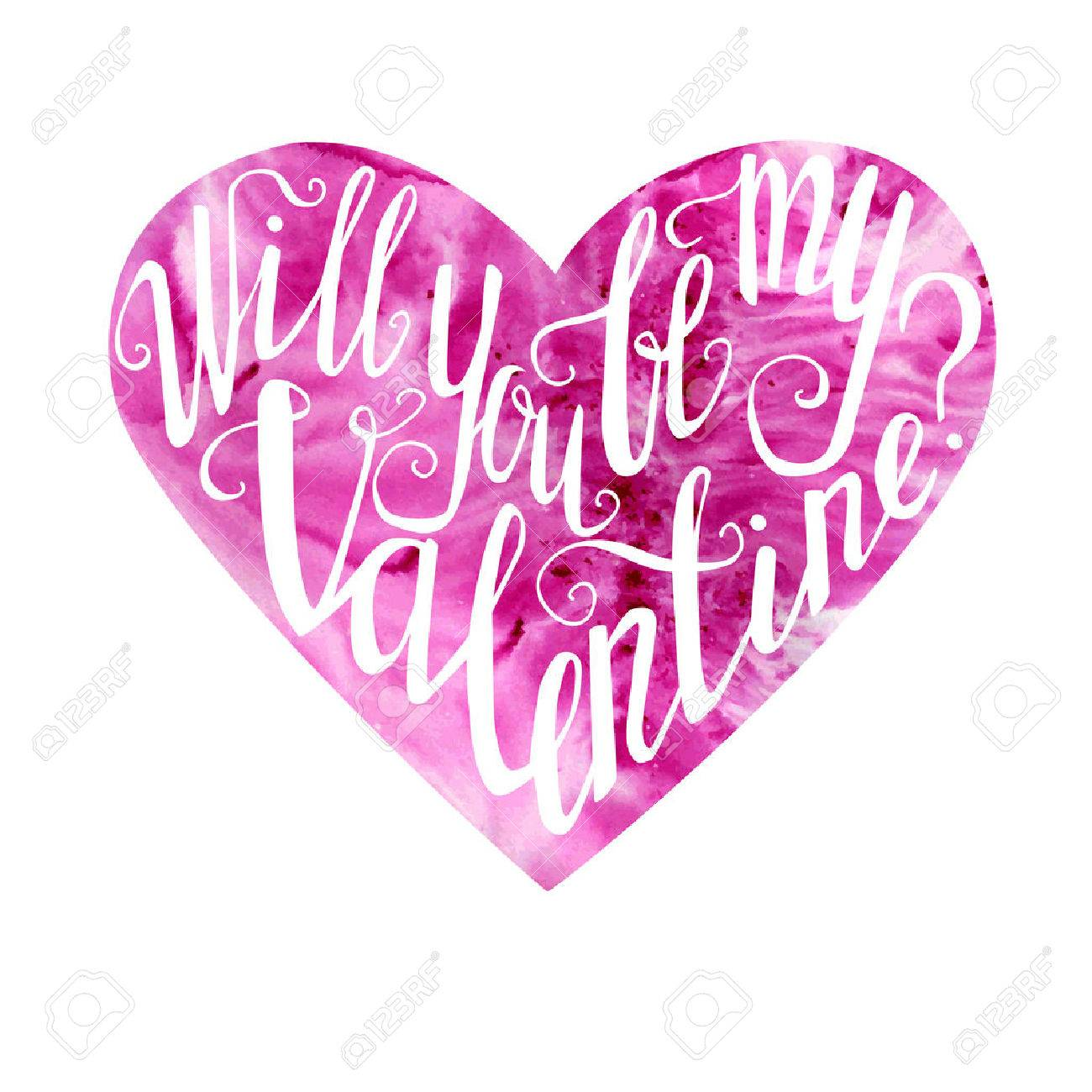 Vector Illustration With Lettering Pink Heart Bright