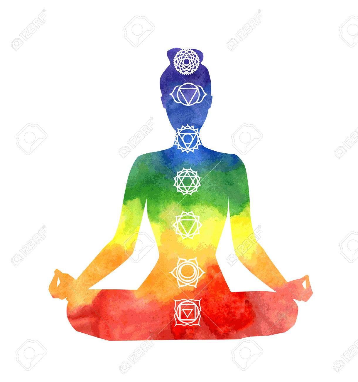 Vector Silhouette Of Yoga Woman With Chakra Symbols Bright