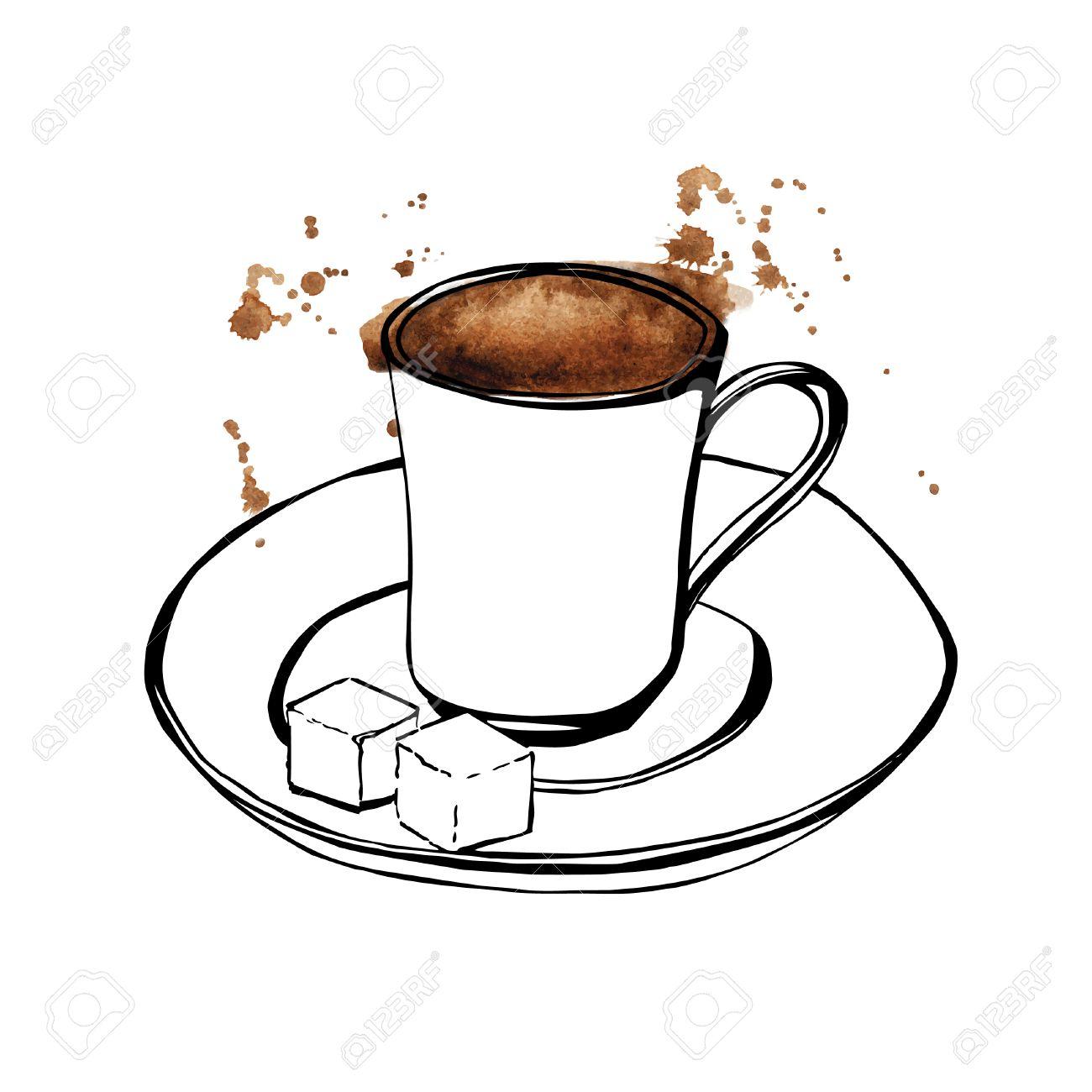 Vector Hand Illustration Der Türkischen Kaffeetasse Gezeichnet