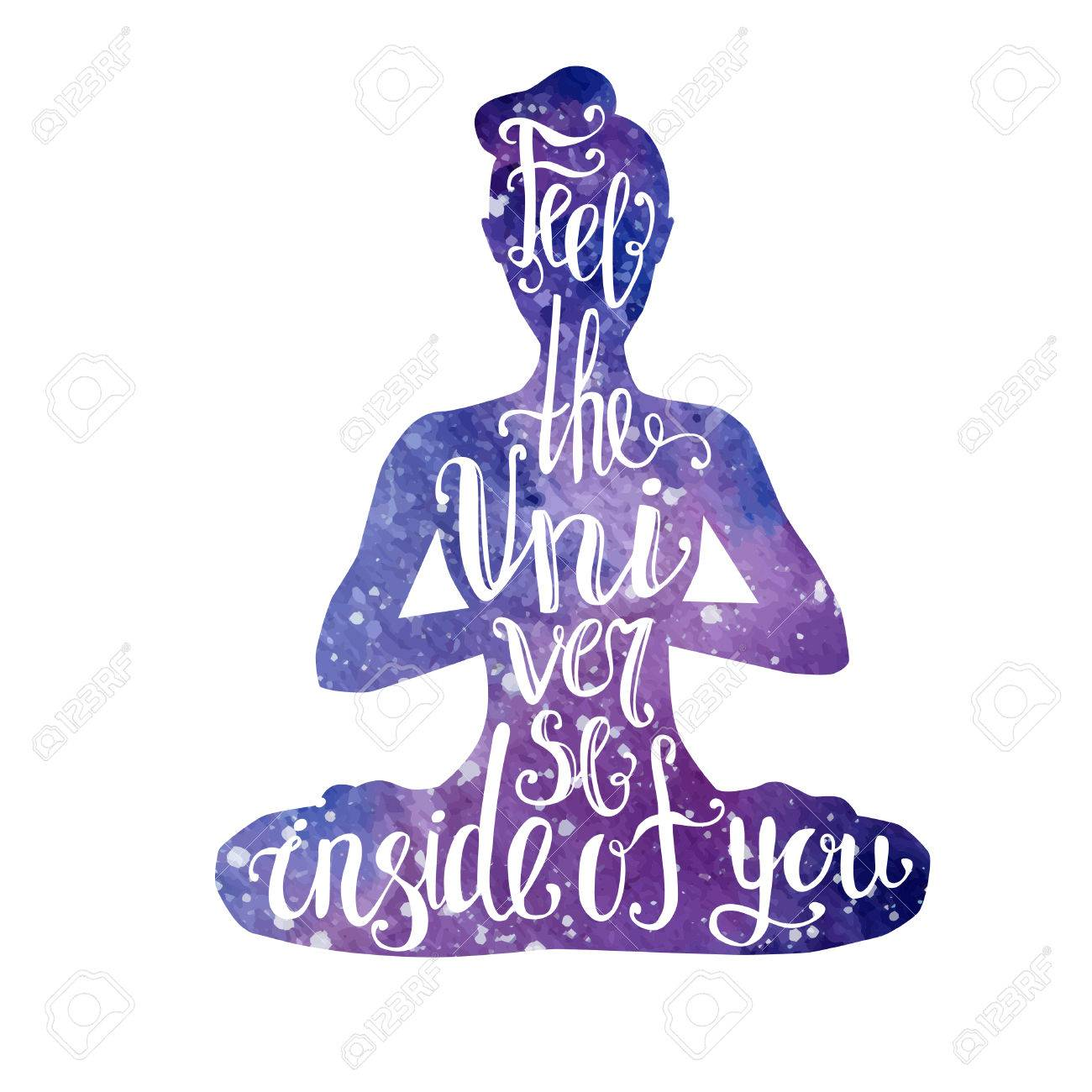 Vector Yoga Illustration With Lettering Female Silhouette