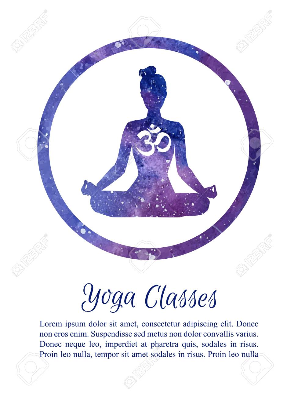 Card And Poster Template For Yoga Classes With Place Your Text Vector Illustration