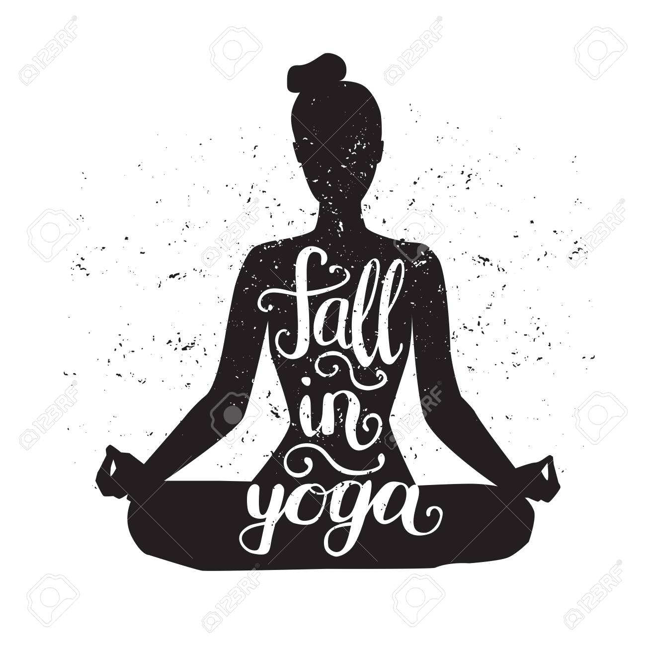 Fall In Yoga. Vector Illustration With Female Figure, Hand ...