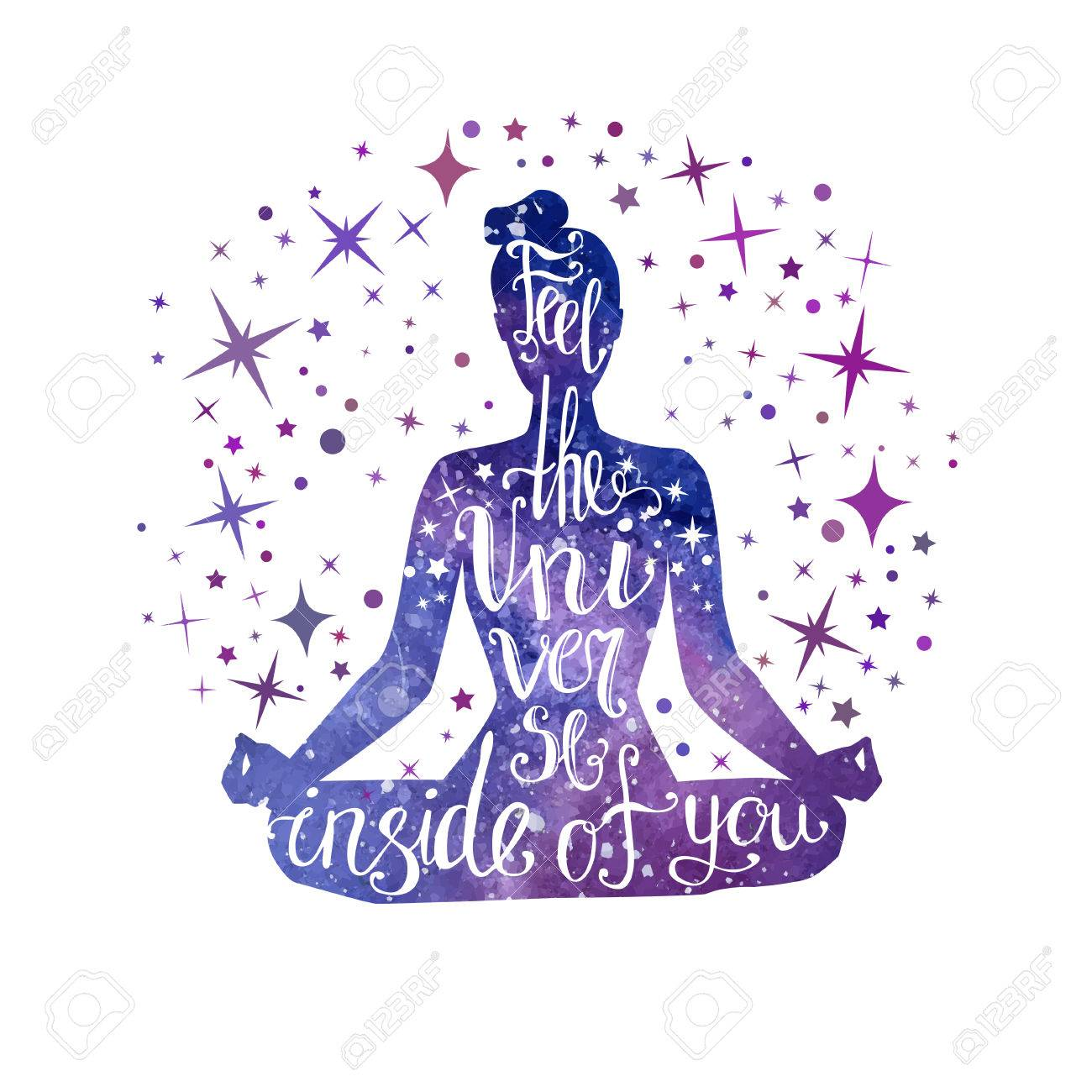 Feel the Universe inside of you. Vector illustration with meditating woman and hand written phrase. - 86387425