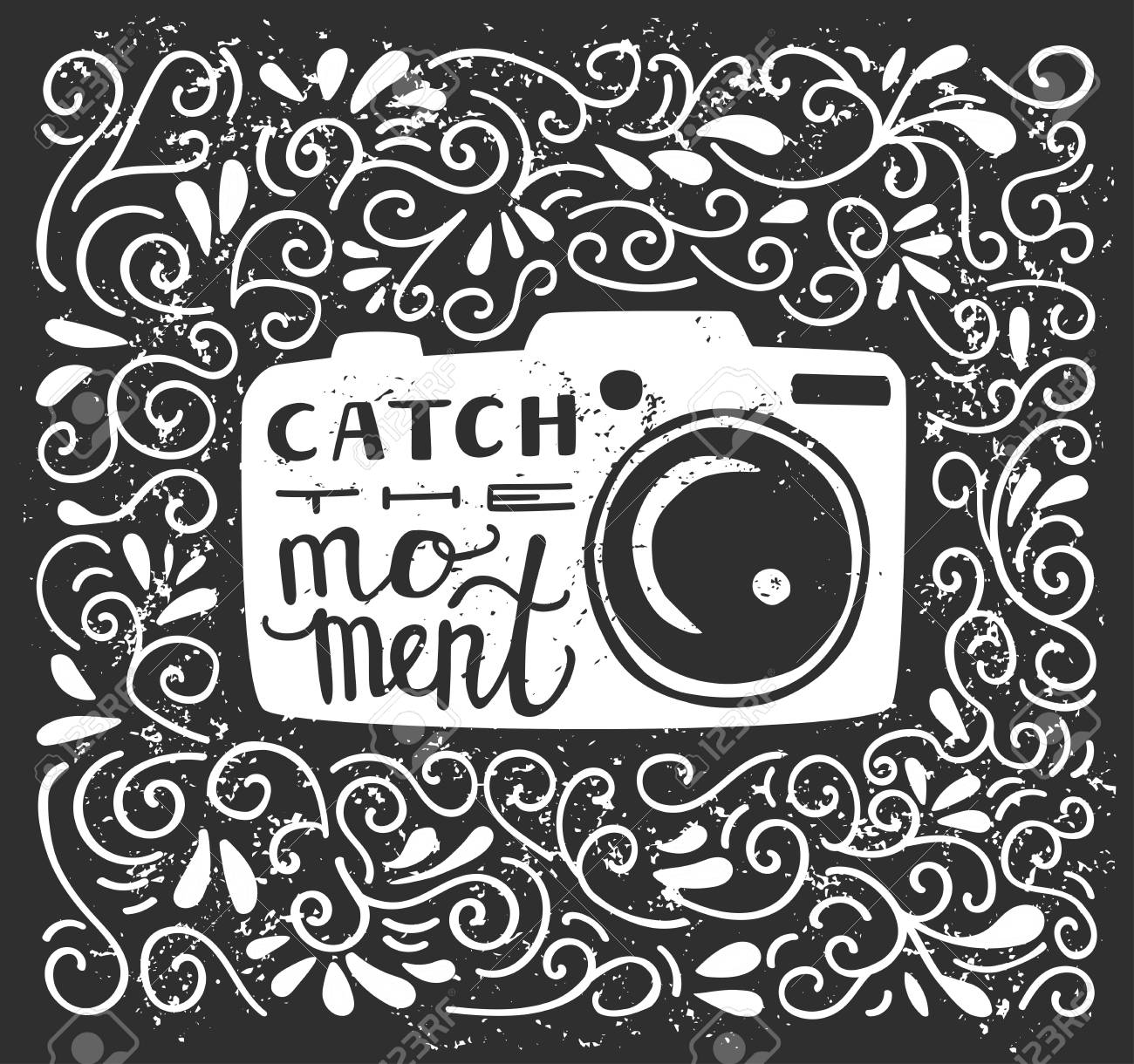 Vector vector illustration with lettering catch the moment white photo camera silhouette hand written phrase and doodle swirls on black background with