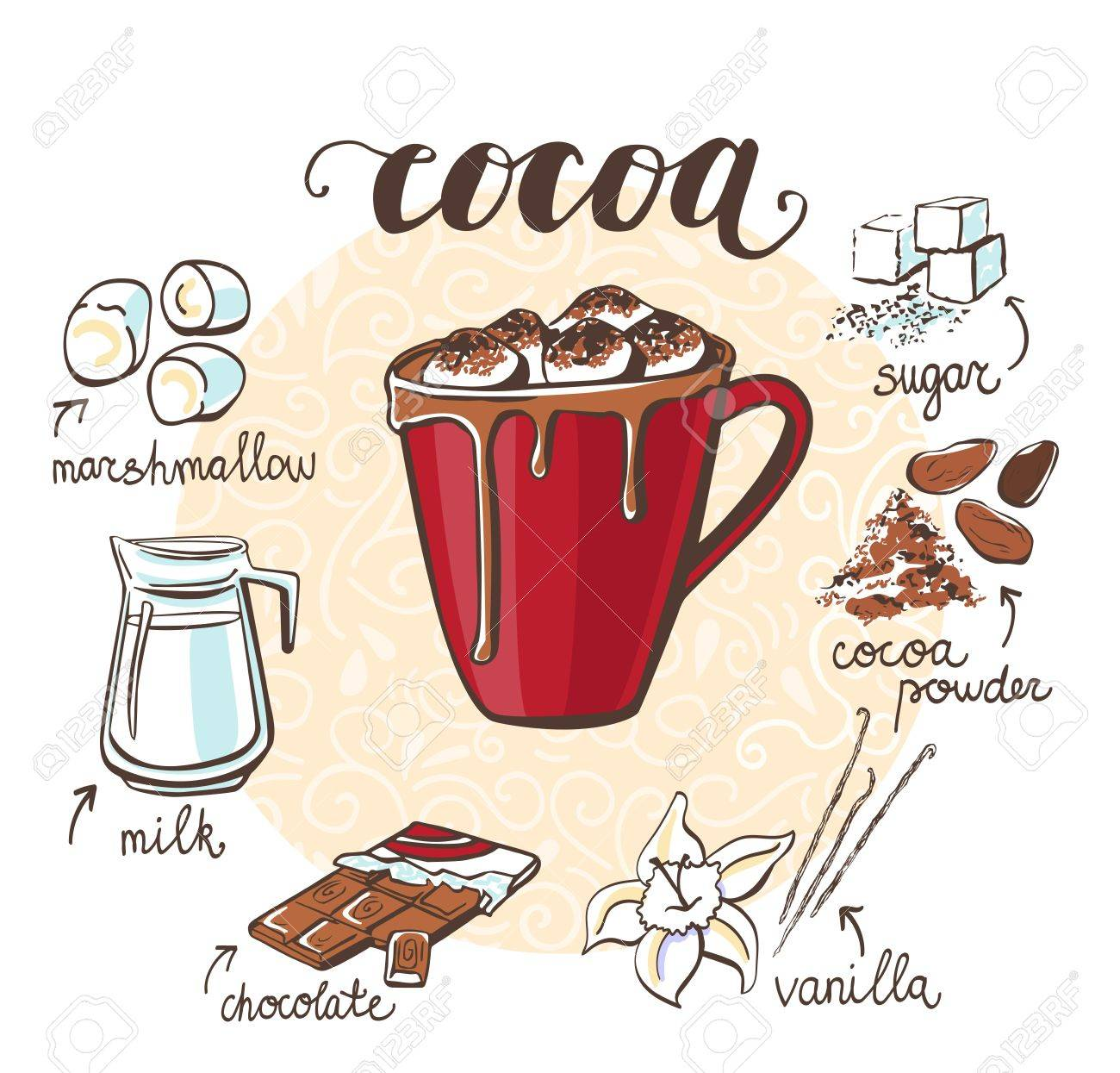 Vector illustration with soft hot drink Cocoa with marshmallow. Hand drawn cup with non-alcoholic beverage and doodle ingredients and spices. Recipe card with isolated objects on white background. - 86387477