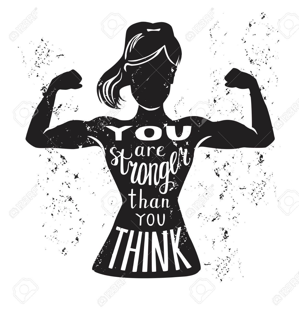 Vector illustration with female figure and lettering in black and white. Hand written phrase You are stronger than you think. Typography design with isolated silhouette of slim woman with biceps curls. - 86387514