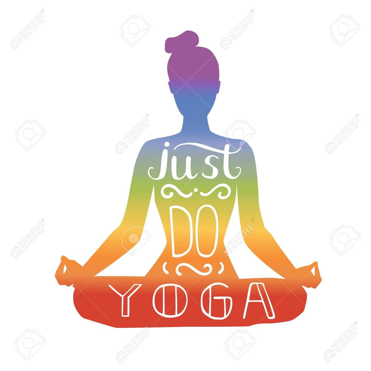 just do yoga vector illustration with hand lettering silhouette rh 123rf com yoga vector silhouette yoga vector graphic