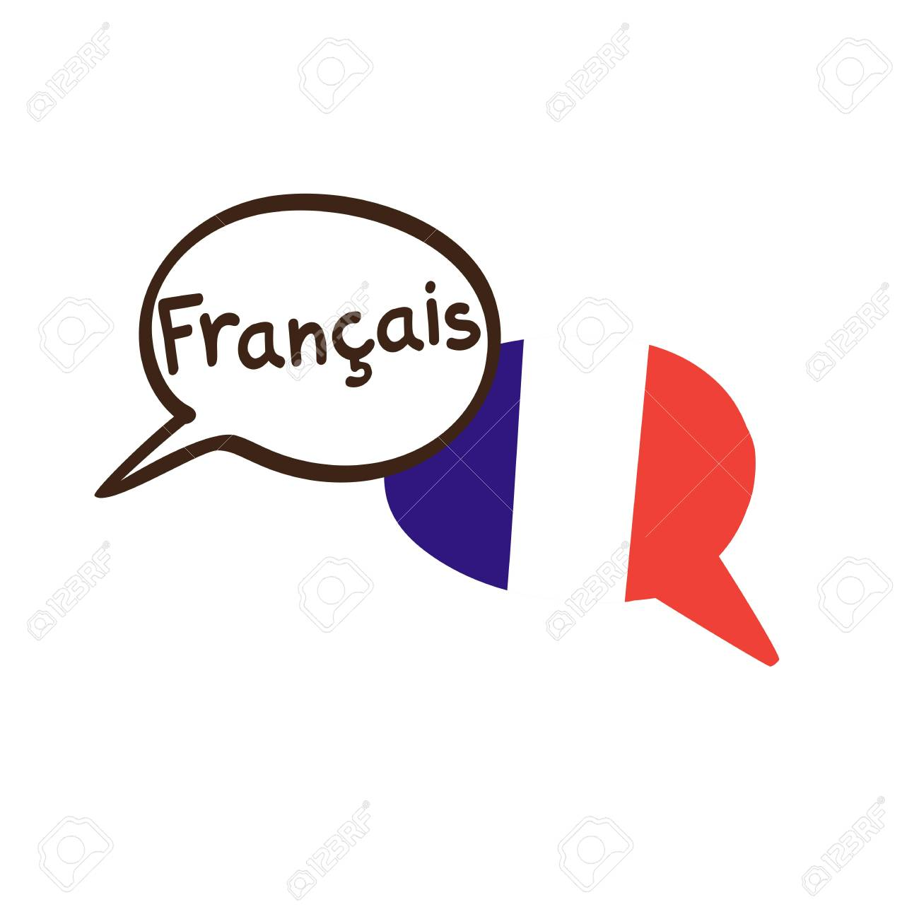 Vector illustration with two hand drawn doodle speech bubbles with a national flag of France and hand written name of the French language. Modern design for language. - 90952693