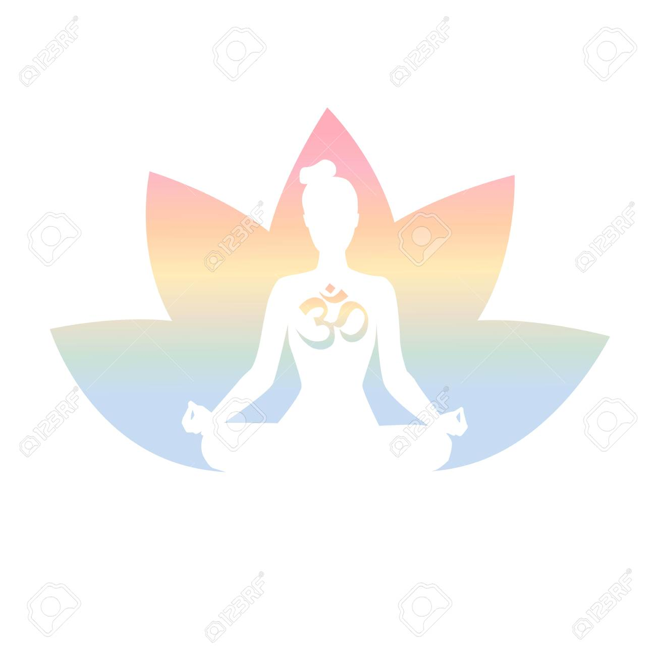 Vector Illustration With A Meditating Woman Religious Symbol Om And