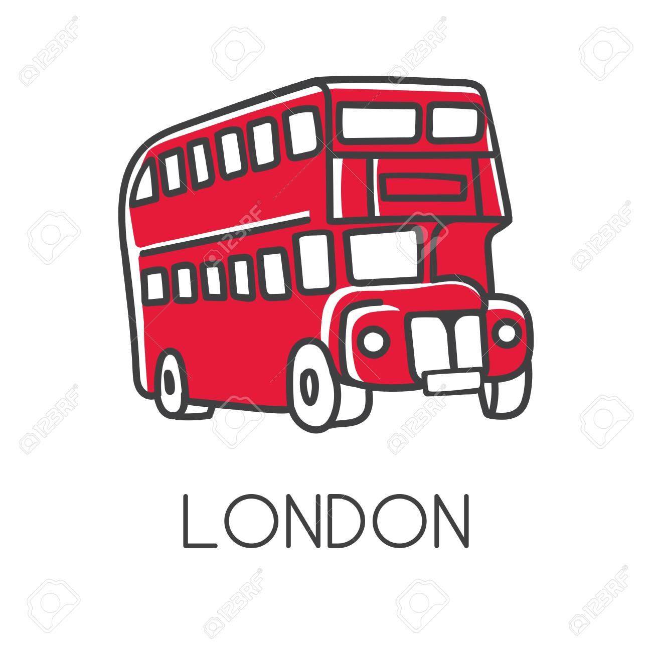 Illustration Vectorielle Moderne Londres Avec Symbole Anglais Doodle Dessiné à La Main Bus Rouge à Deux étages Simple Esquisse Minimaliste Avec