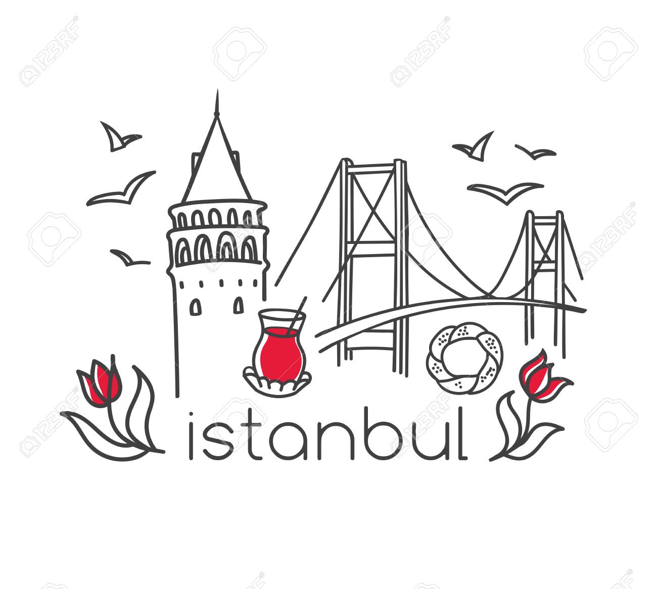 Modern Vector Illustration Istanbul With Hand Drawn Doodle Turkish
