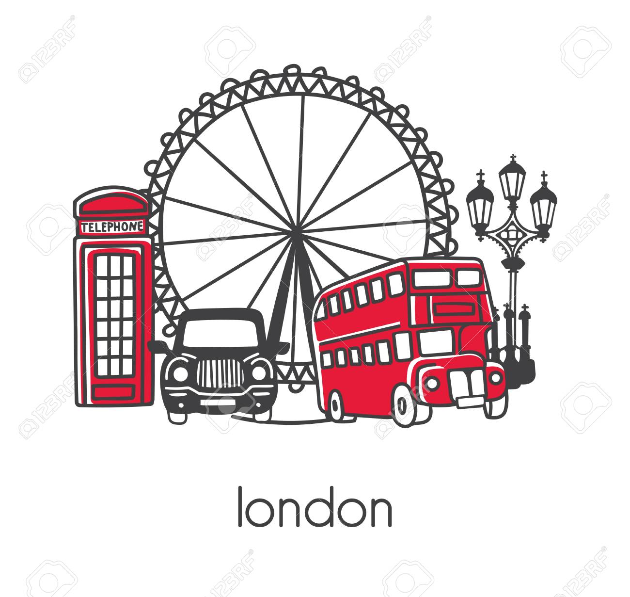Modern vector illustration London with hand drawn doodle English symbols: double decker bus, telephone box, street lamp, cab, big wheel. Simple design with black outline isolated on white background. - 94991601