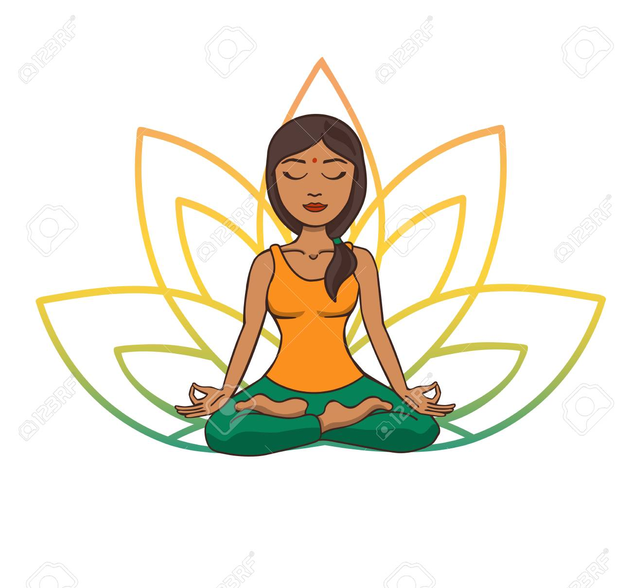 Vector Doodle Illustration Of Young Cute Indian Girl Meditating