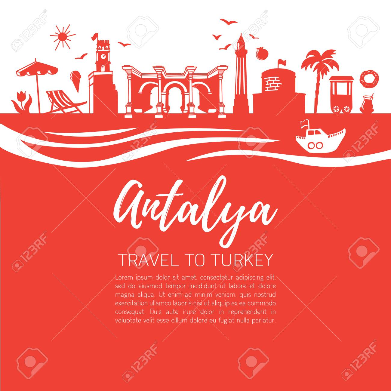 Istanbul Symbols  Modern Flat Vector Illustration Of Famous Turkish