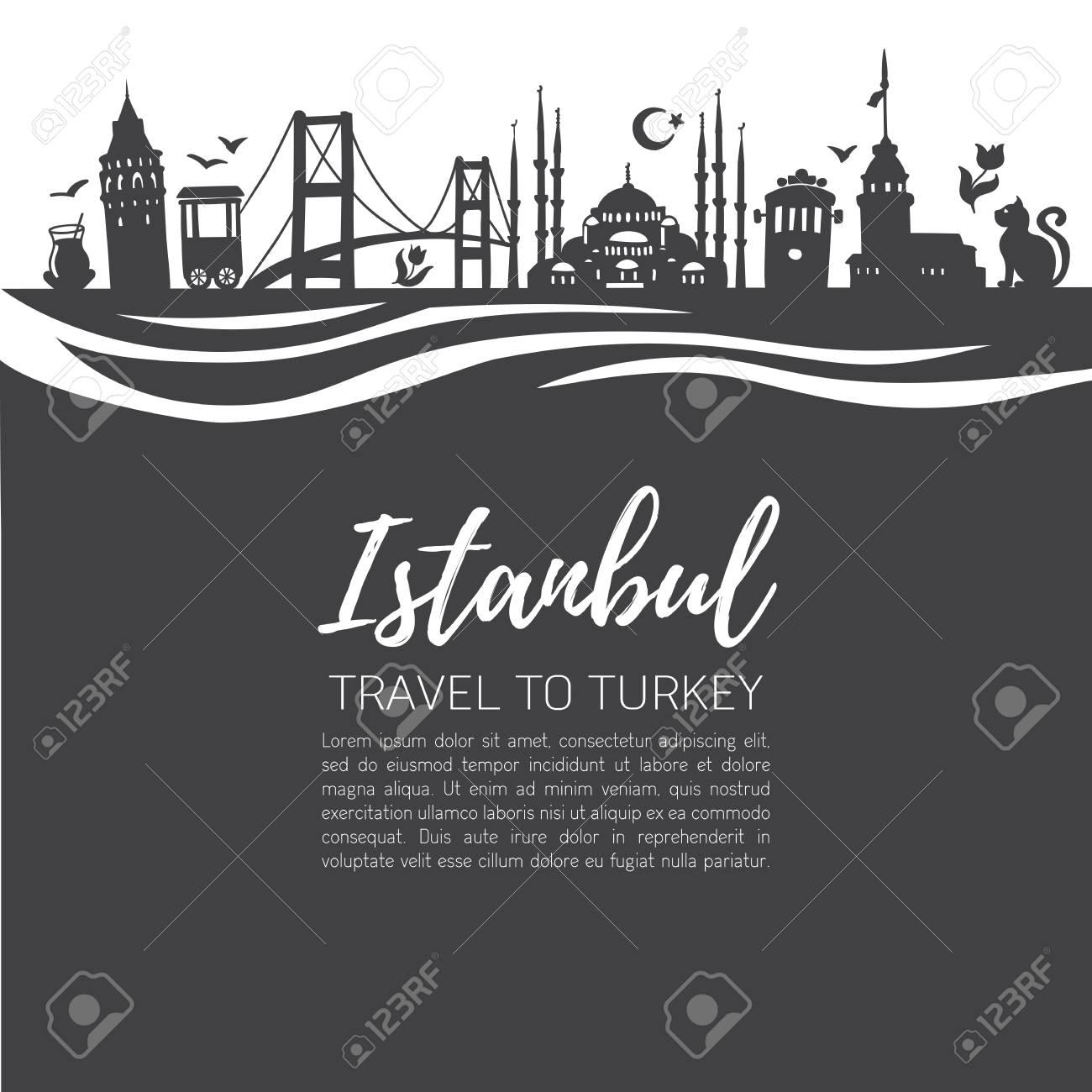 Istanbul  Travel To Turkey  Modern Flat Vector Illustration Of