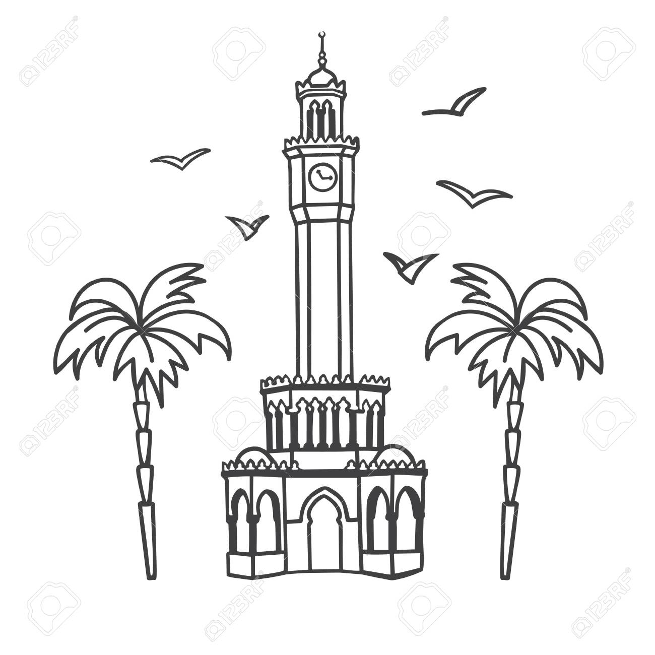 Vector Illustration The Clock Tower In Izmir Turkey Famous Royalty Free Cliparts Vectors And Stock Illustration Image 139486730