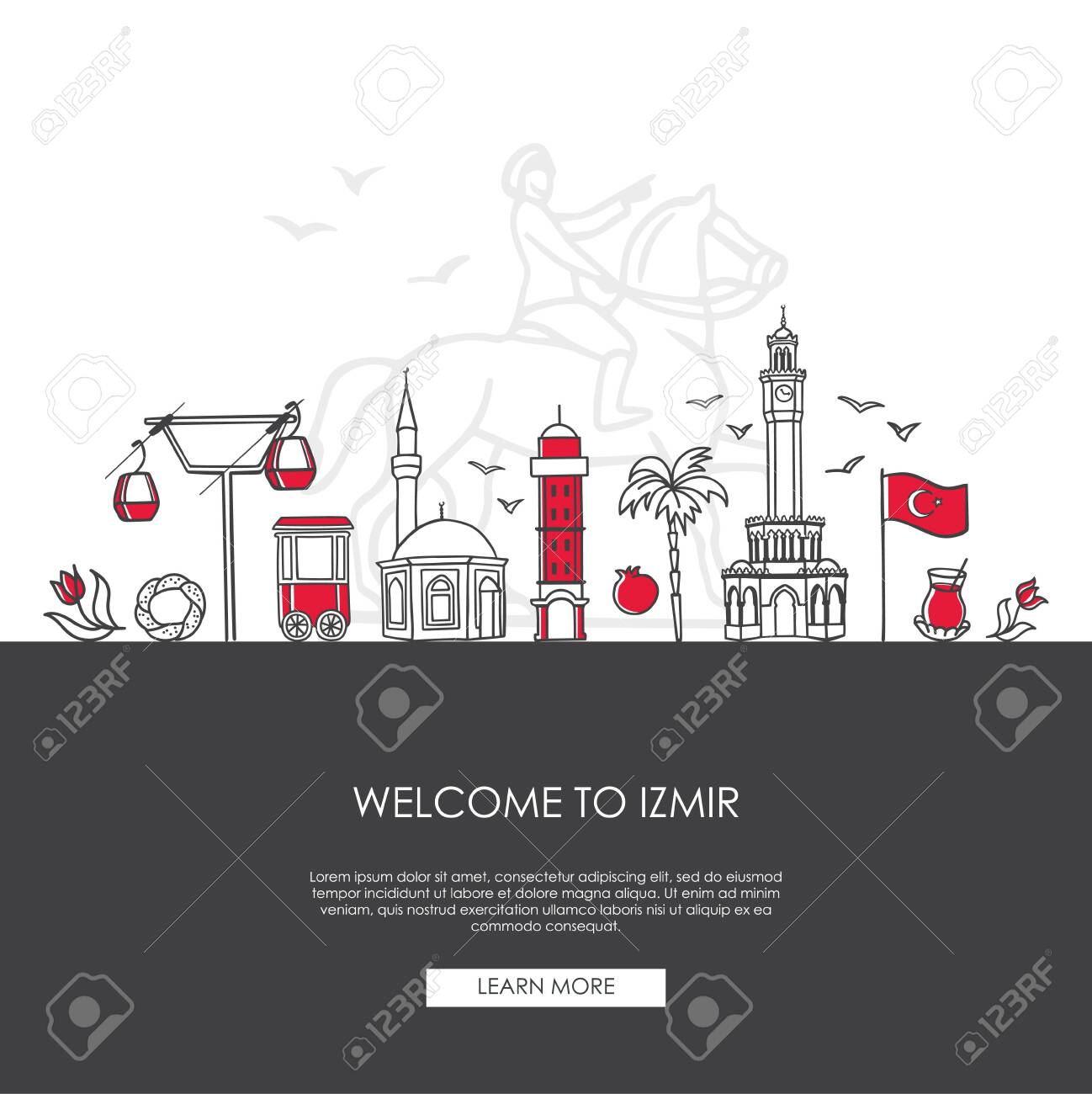 Vector Illustration Welcome To Izmir Turkey Famous Turkish Royalty Free Cliparts Vectors And Stock Illustration Image 142779361