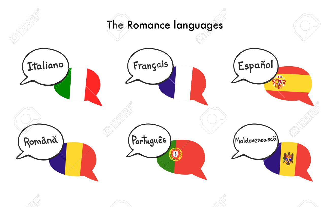 The Romance languages. Set of vector clip art of speech bubbles with national flags of Italy, France, Spain, Romania, Portugal, and Moldova. Foreign language course, school or travel agency design. - 142779376