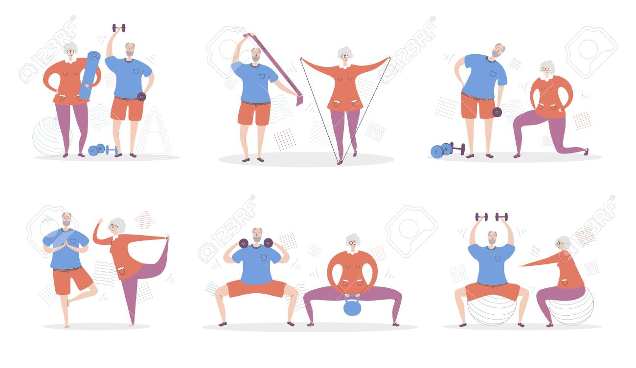 Set of vector illustration Senior Fitness. Happy grandfather and grandmother exercising together. Active lifestyle for elderly people couples. Collection of workout for adults scenes in flat style. - 146564968