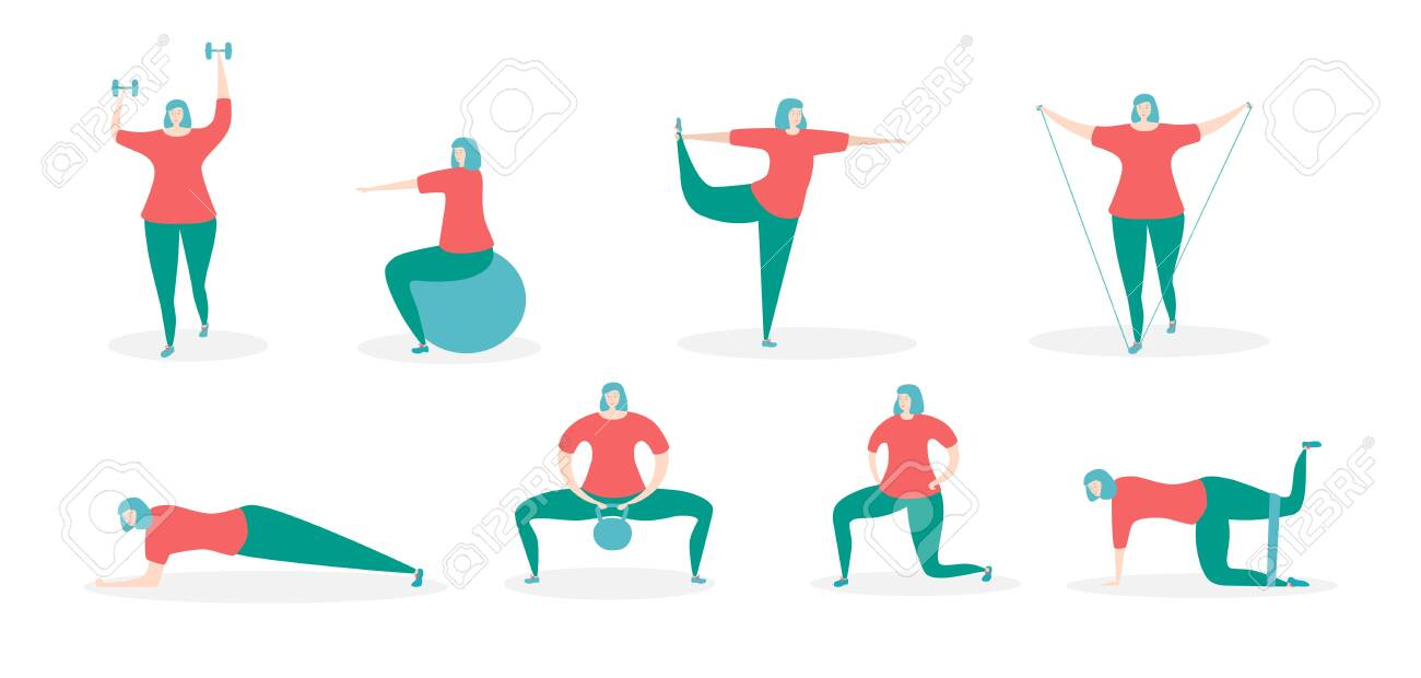 Woman exercising with fitness equipment. Girl in the different training positions. Working out with various accessories. Young woman doing sports at home. Set of different exercises. - 148707595