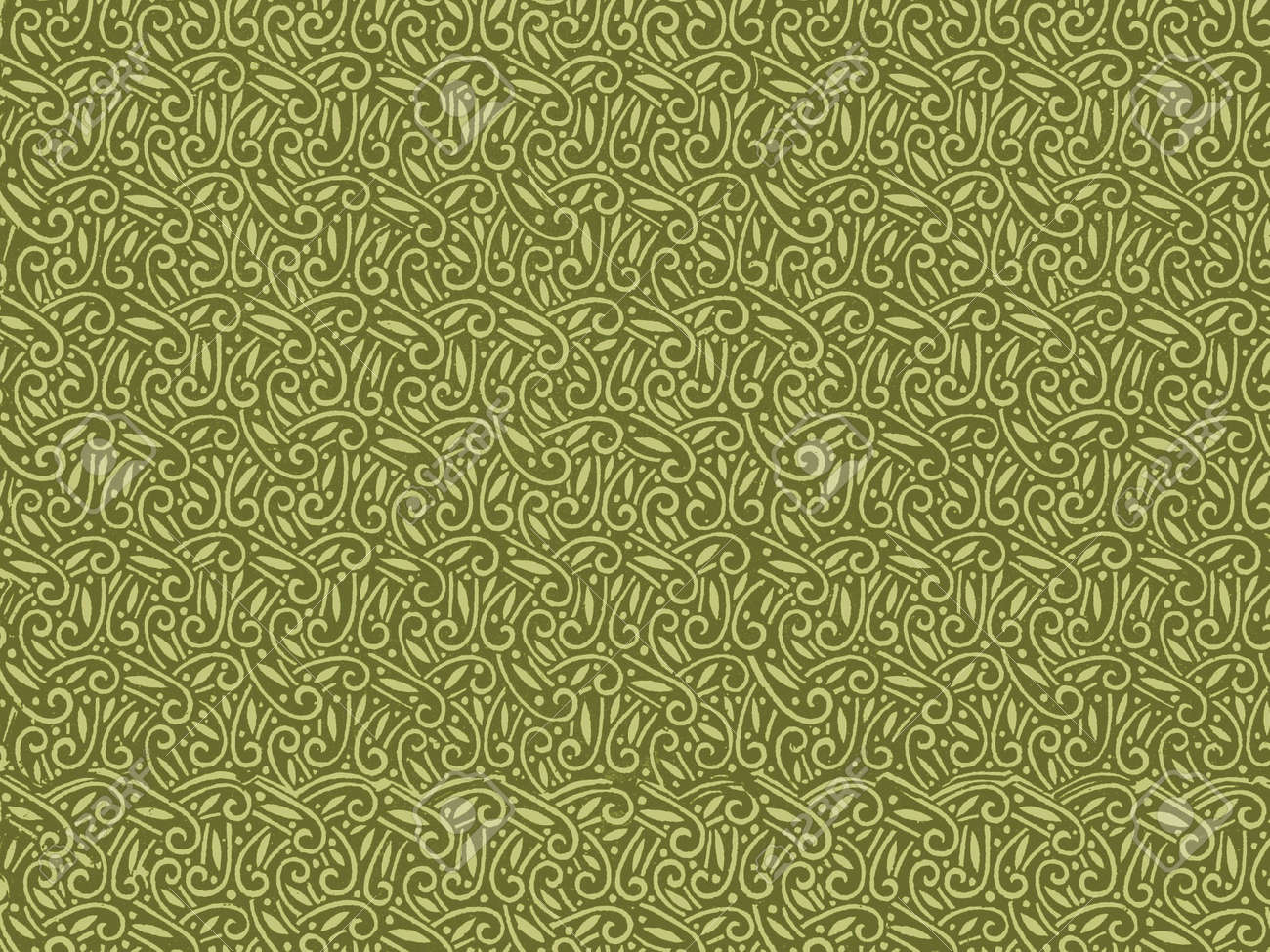 Vintage Wallpaper Pattern In Green Stock Photo Picture And Royalty