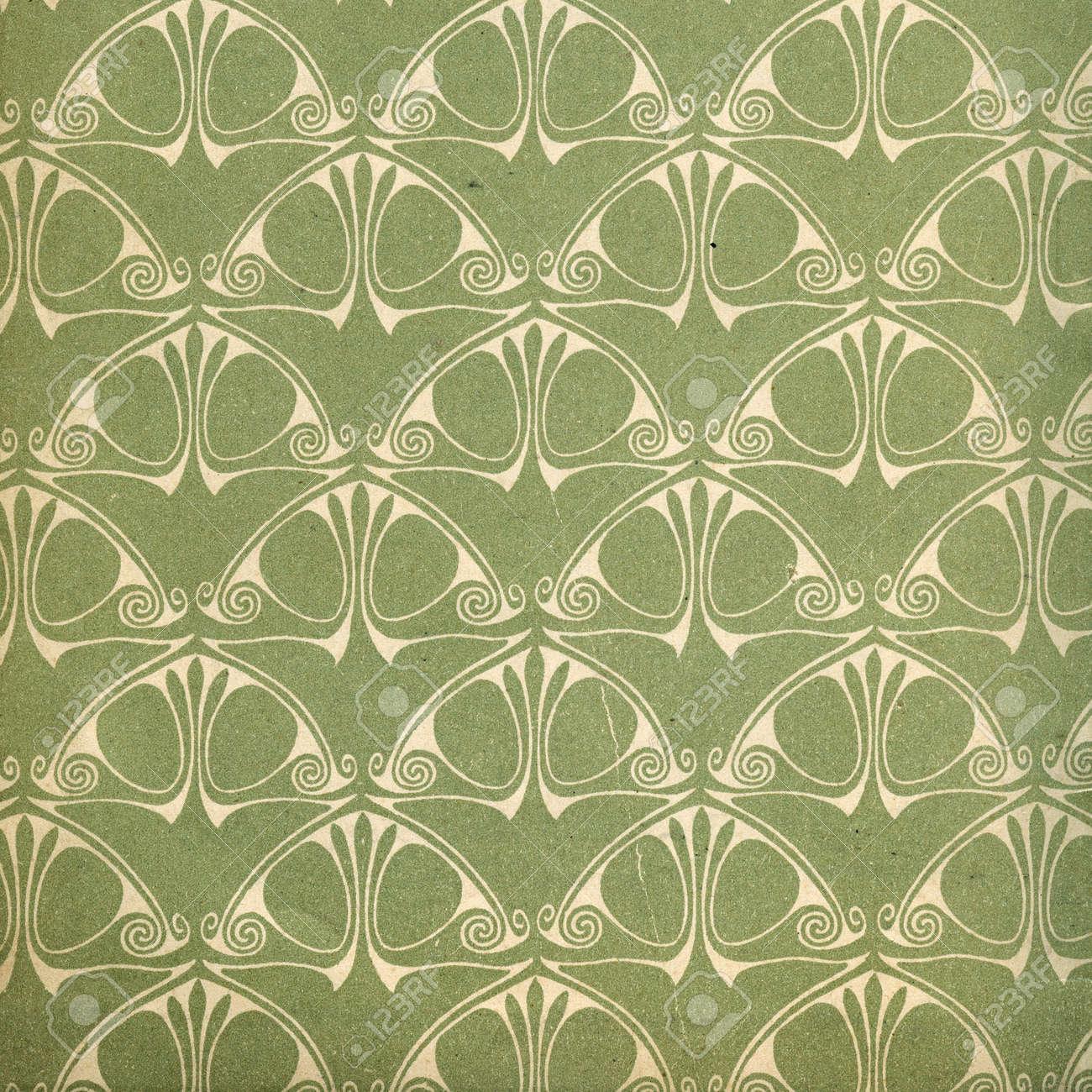 Used Vintage Wallpaper - Art Nouveau - Grainy Surface Stock Photo ...