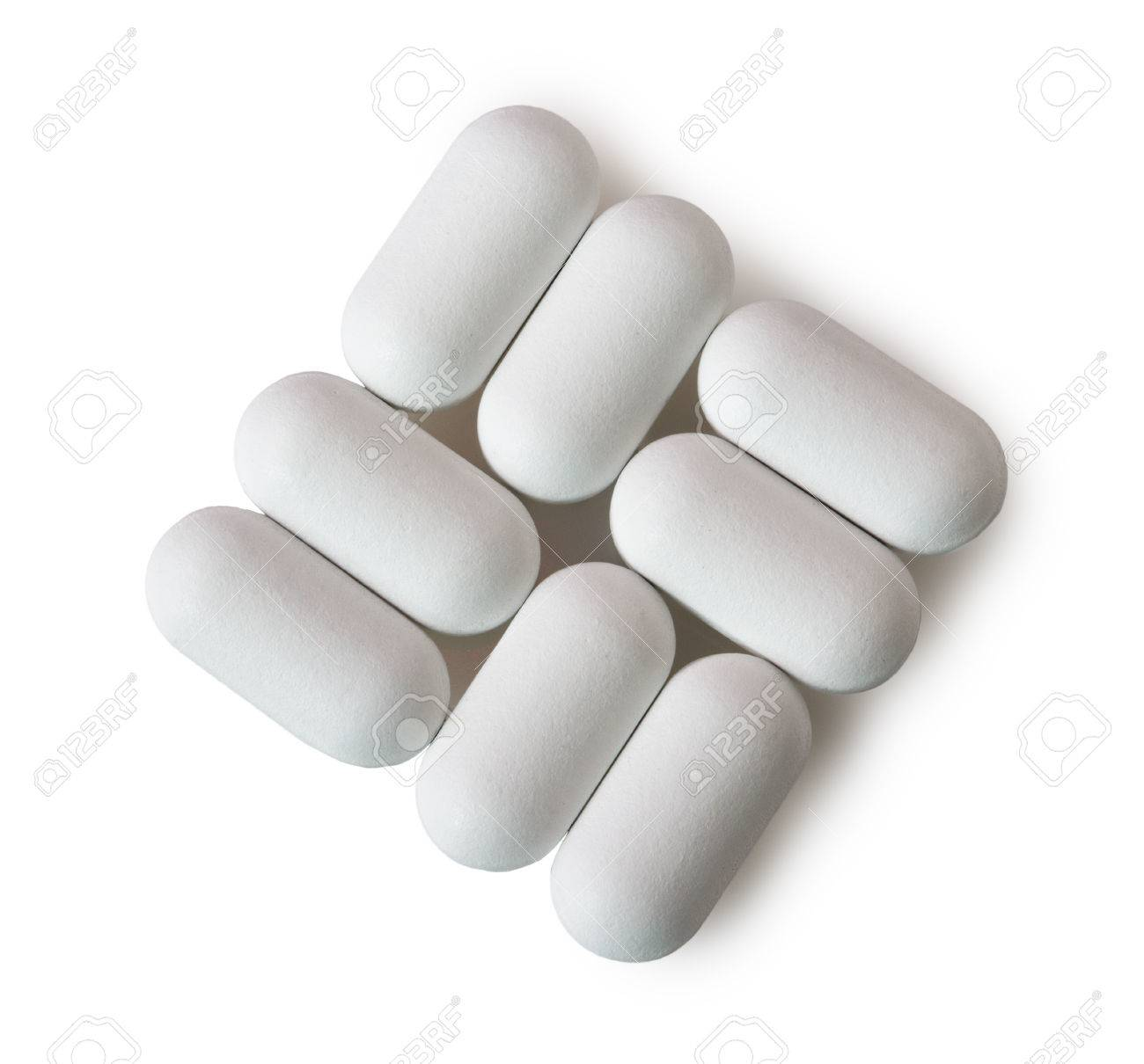 White Oval Pills Isolated On White Background Stock Photo Picture