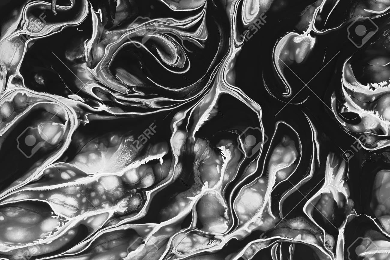 Melange De Peinture Noir Blanc Abstrait Monochrome