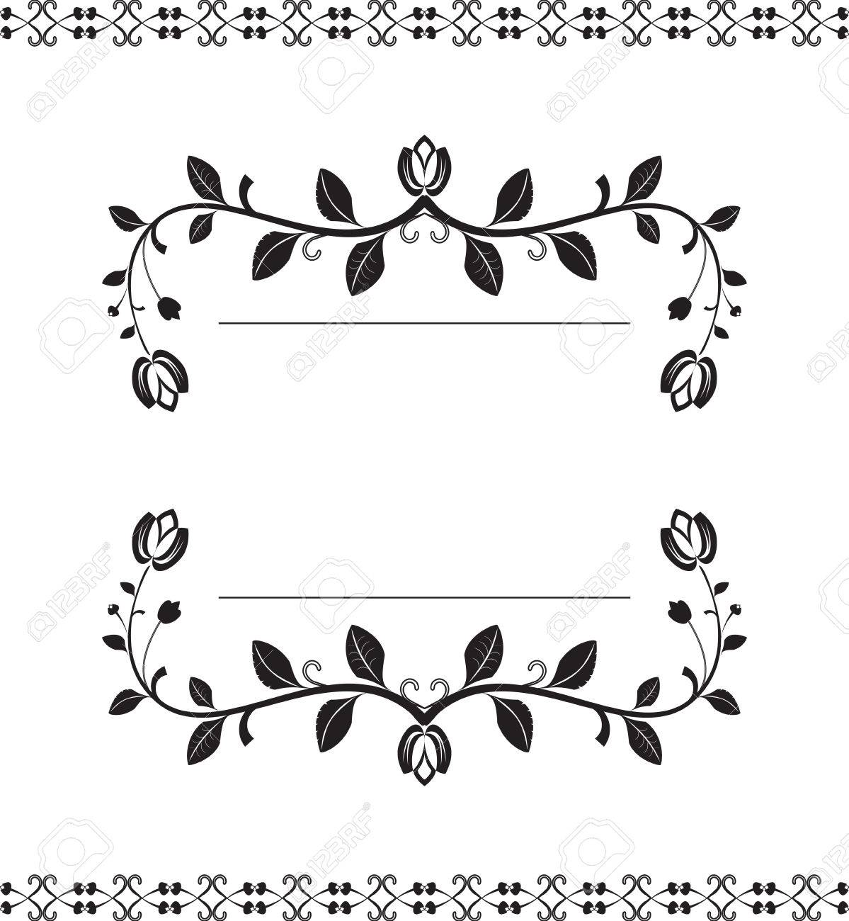 Vector Black Decorative Vertical Frame Border With Vintage Floral