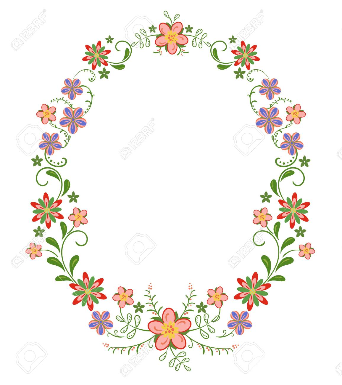 Decorative Vertical Oval Frame Vignette With Bright Simple Flowers Stock Vector