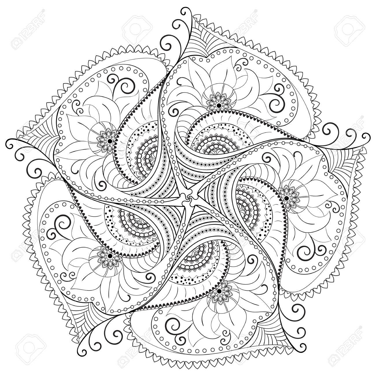 Circular floral pattern. - 88886469
