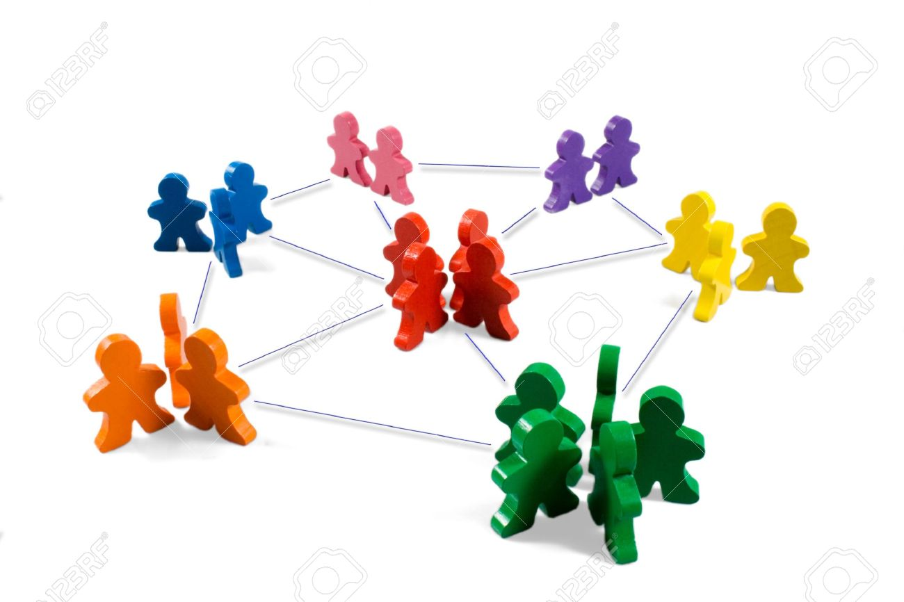 Business concepts illustrated with colorful wooden people - networking, organizational groups, or workgroups. Stock Photo - 463672