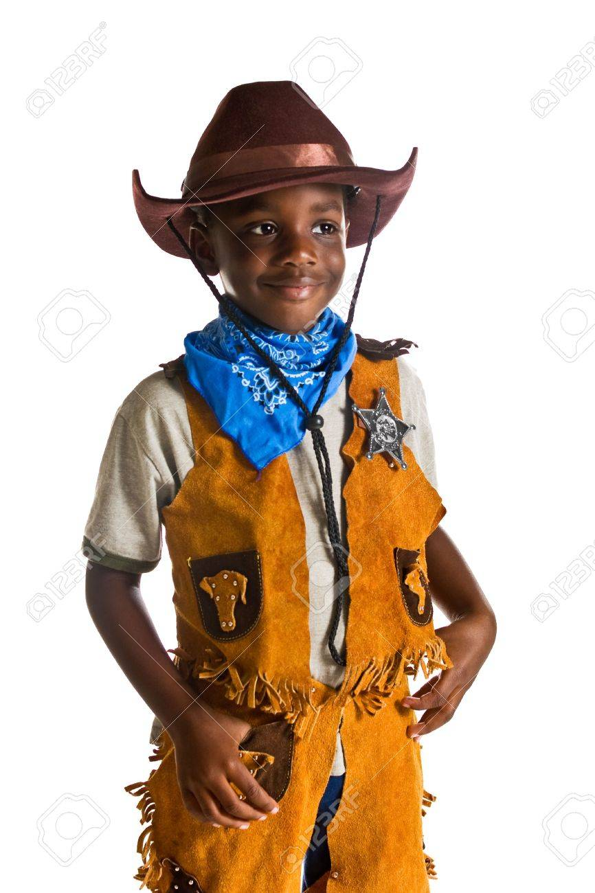 Young African American boy dressed as a cowboy. Isolated on a white background. Stock Photo - 2460186