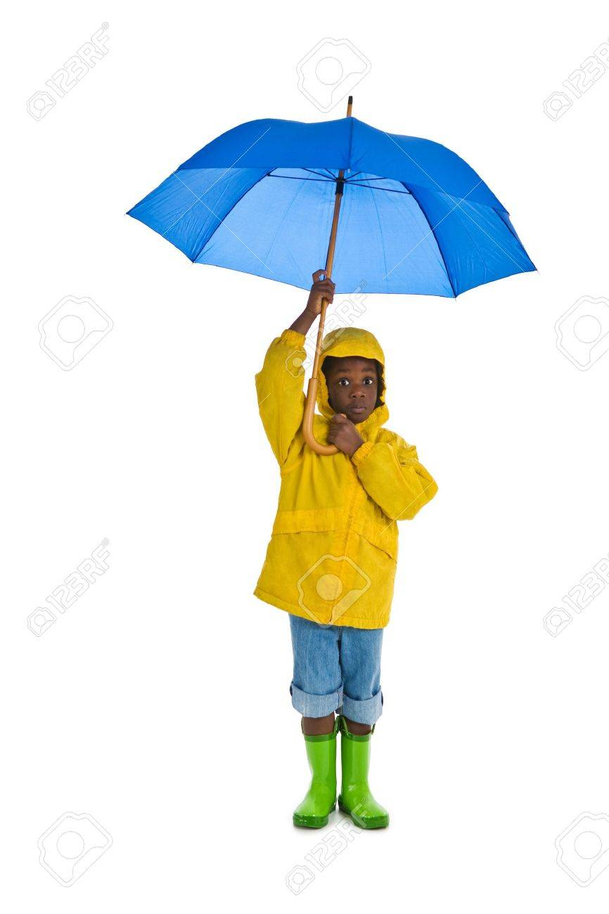 A young African American boy wearing a yellow rain slicker and carrying a  blue umbrella. fac979cb218