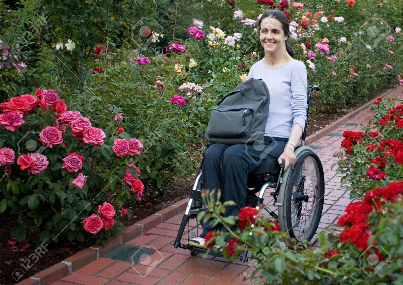 Beautiful young woman in a wheelchair visiting a rose garden in Oregon. Stock Photo - 3753957