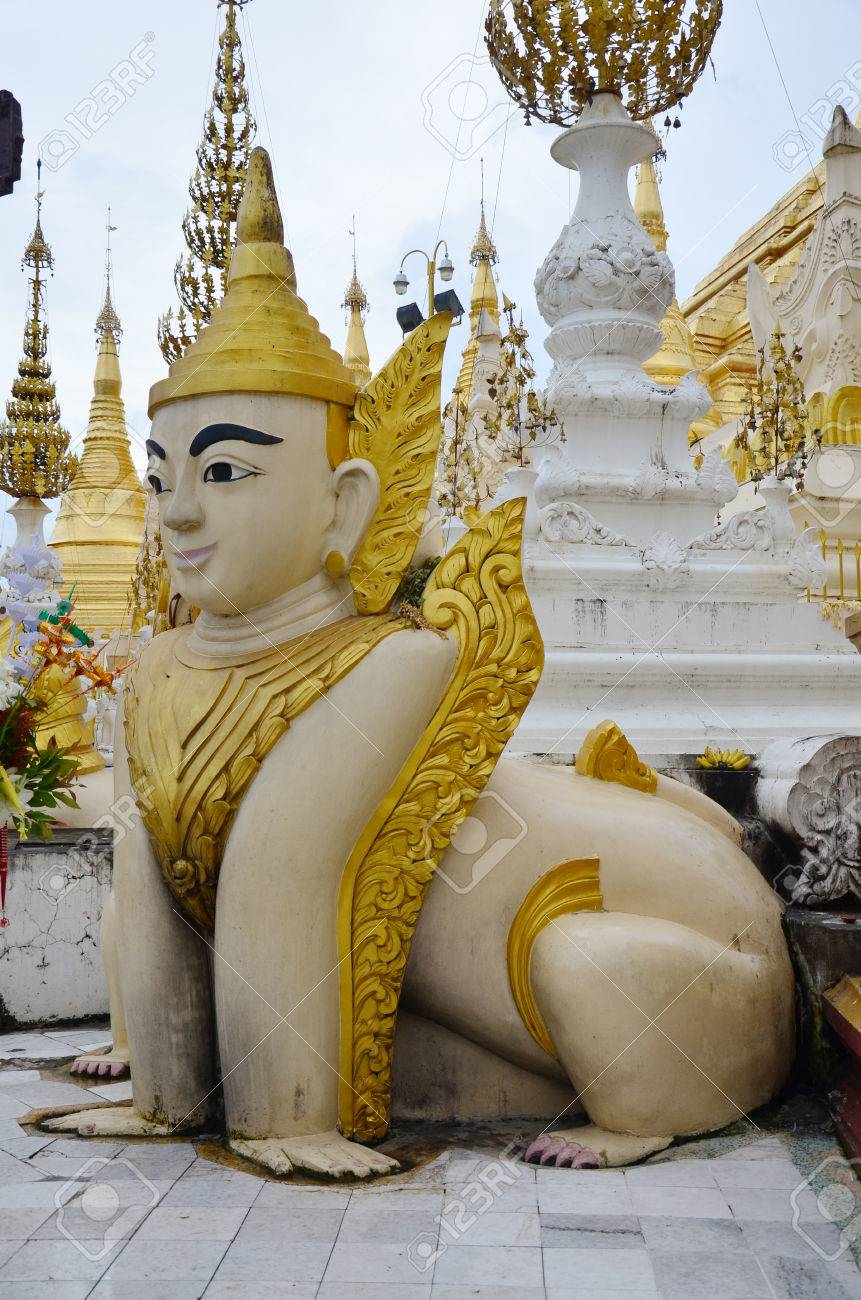 Singha Creatures of Myth and Legend of Shwedagon Pagoda or Great