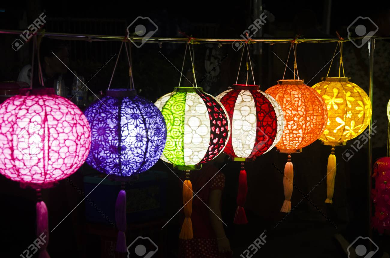 hanging variety of colorful paper lamp and lantern lighting