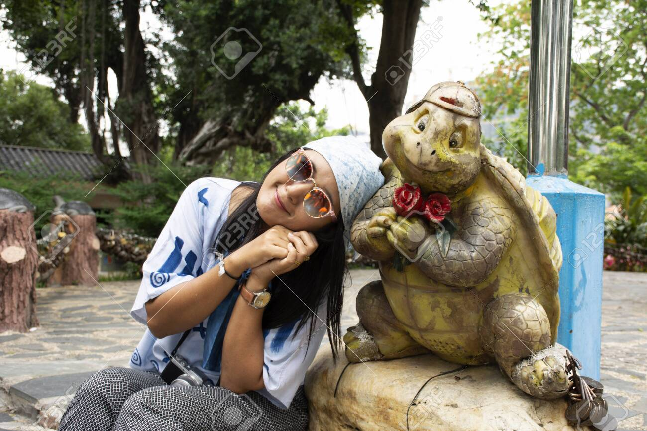 Travelers Thai Women Visit Travel And Posing With Tortoise Or