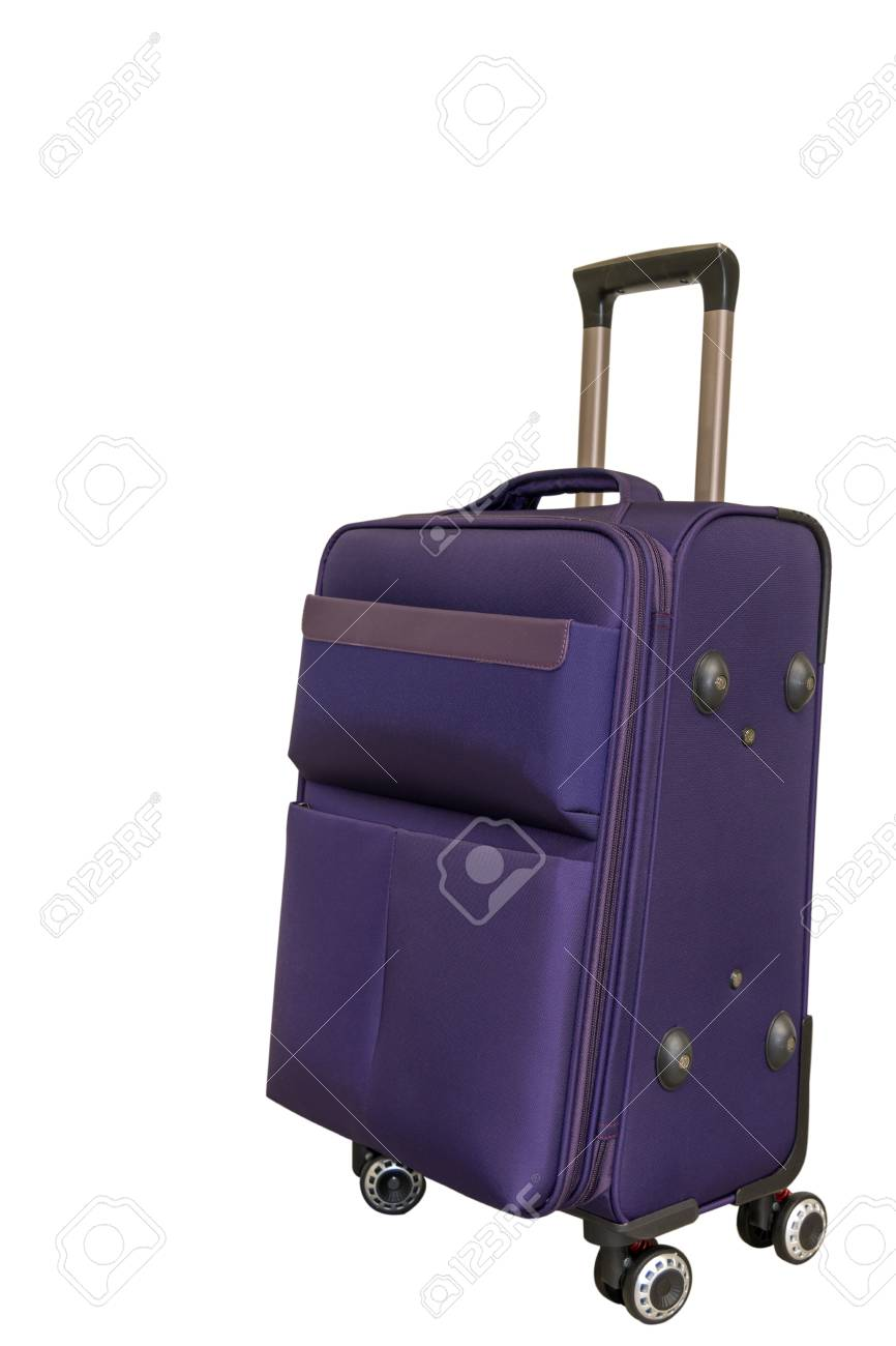 4592ec6cc91f Purple travel suitcase on four wheels on a white background...