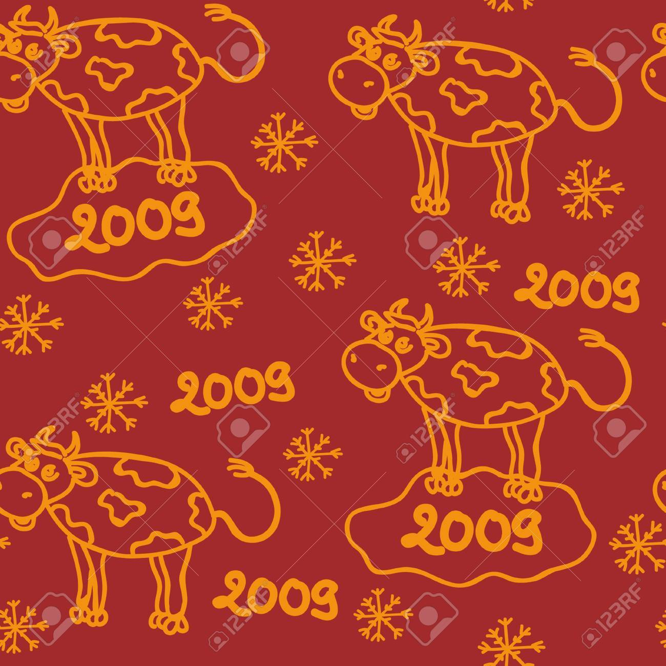 the bull new year seamless Stock Vector - 3686574