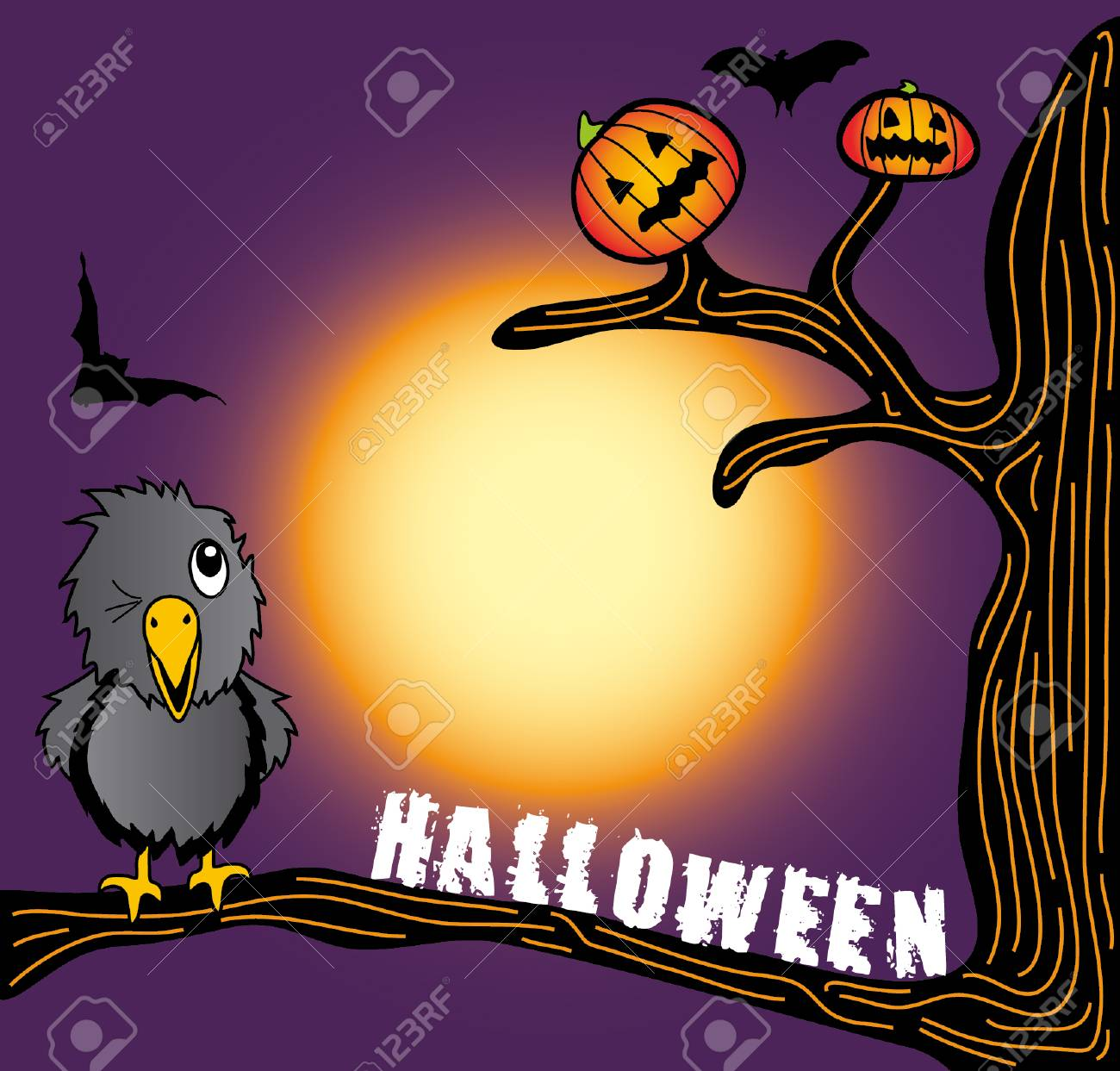 the halloween crow looking at pumpkin on the tree Stock Vector - 3698080