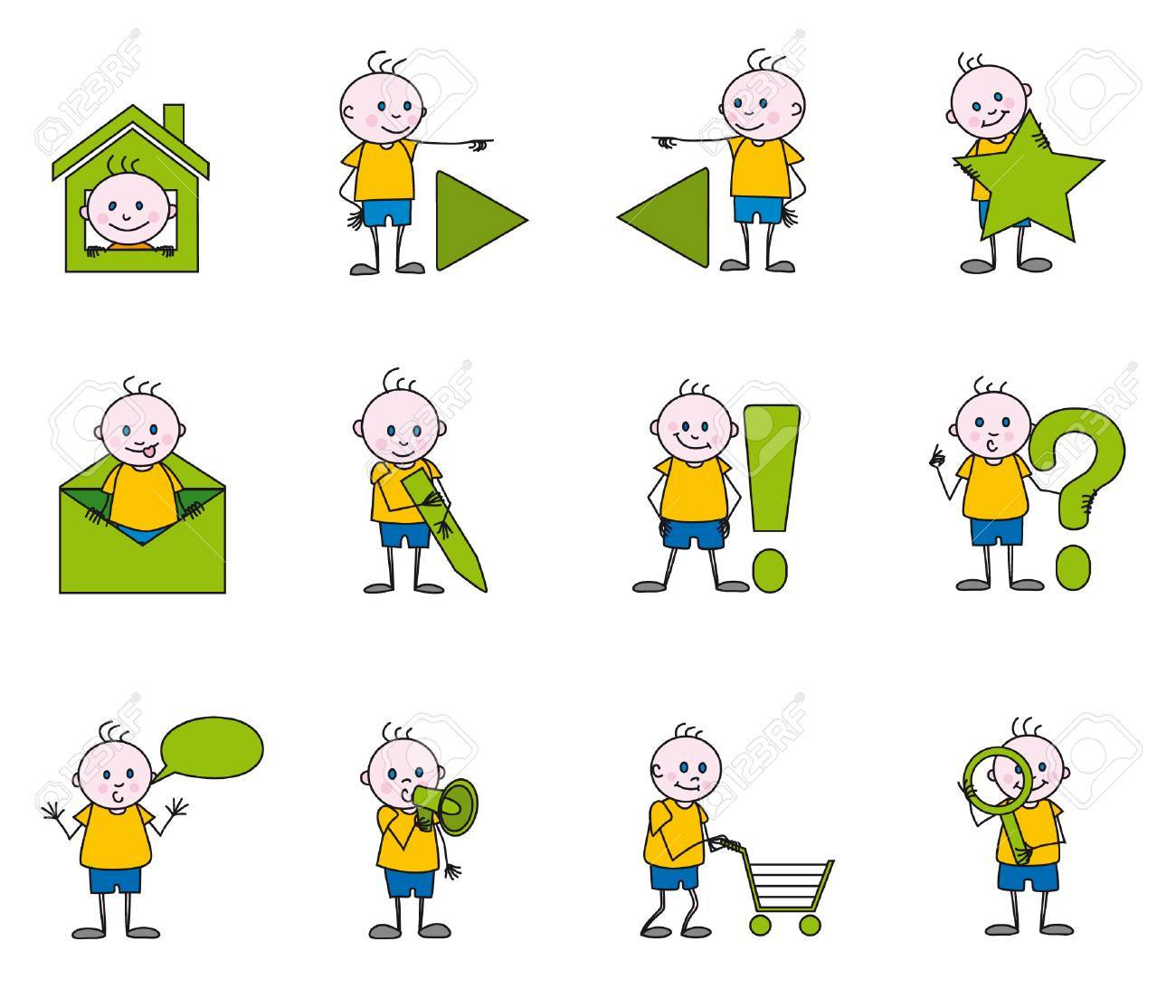 the children icons Stock Vector - 3806458