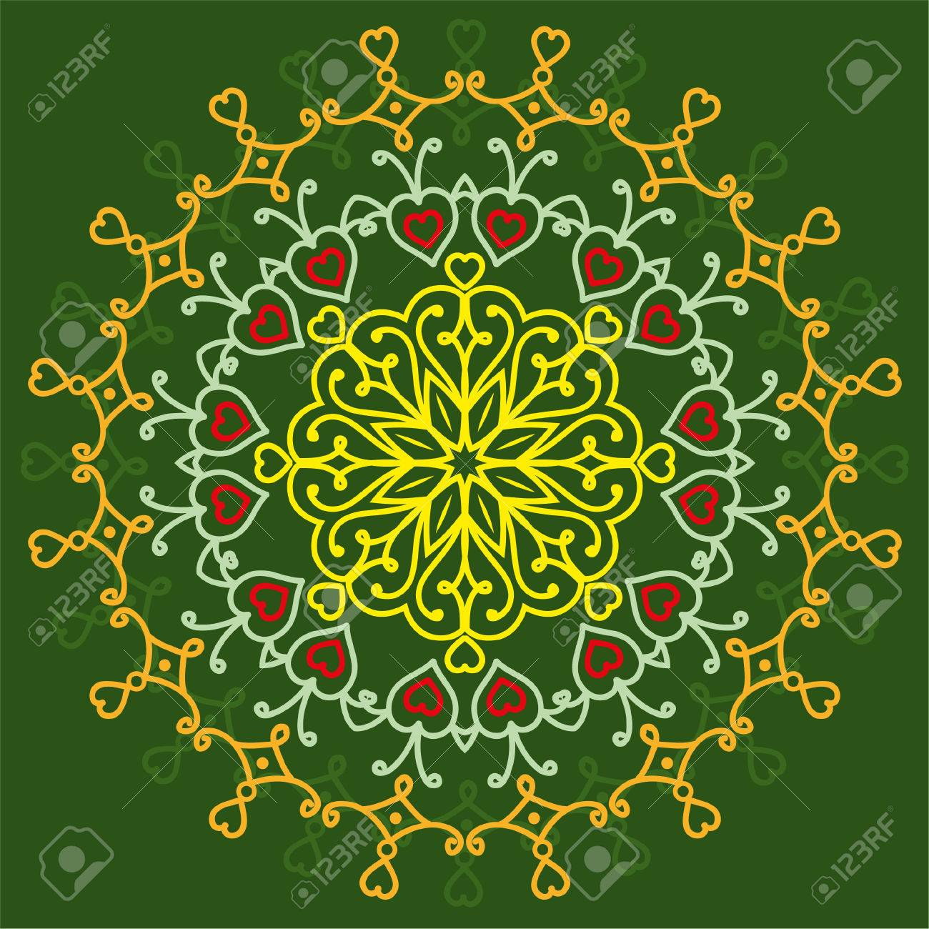 Mandala Of Love On A Green Background Ethnic Patterns Greetings