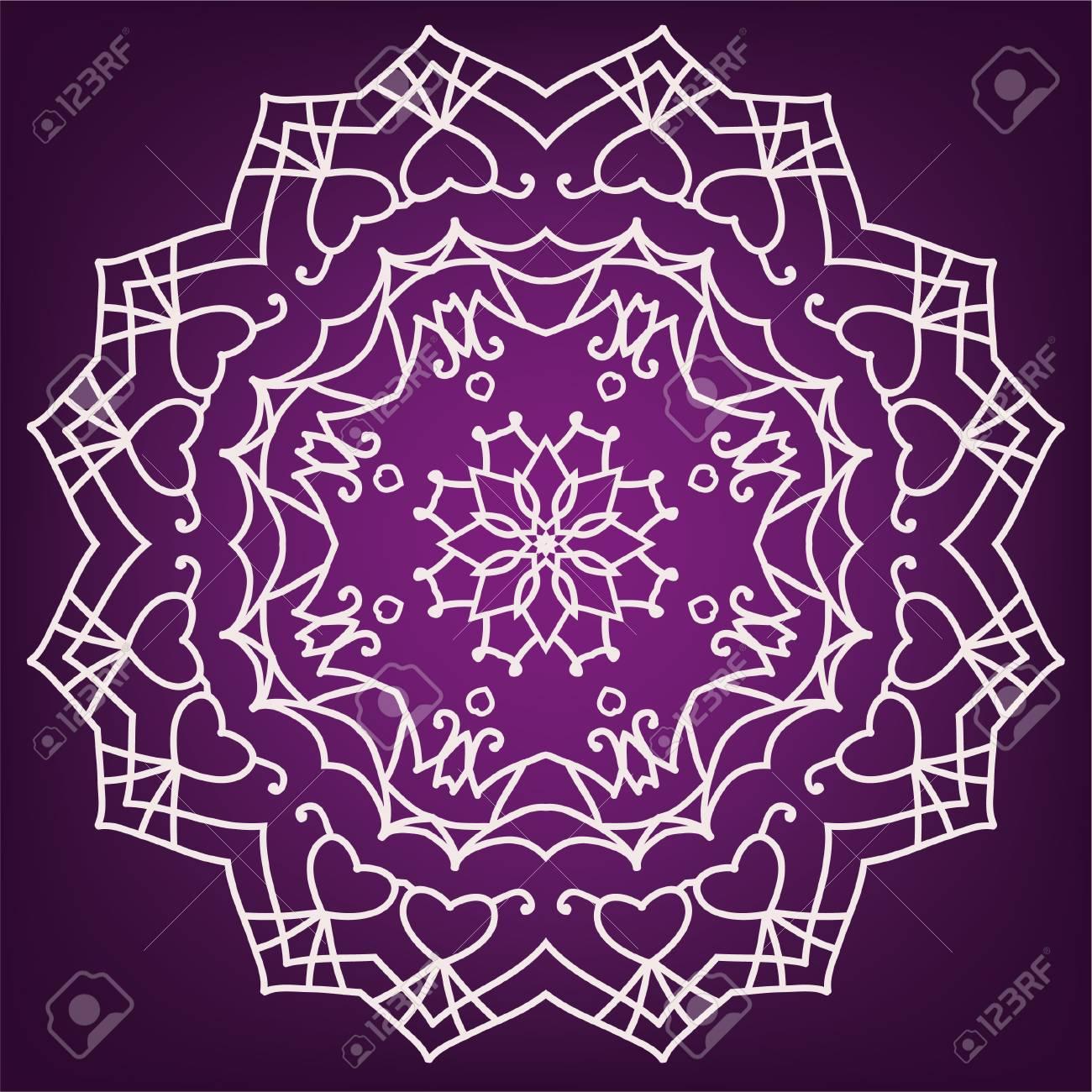 Mandala Of Love On A Purple Background Ethnic Patterns Greetings