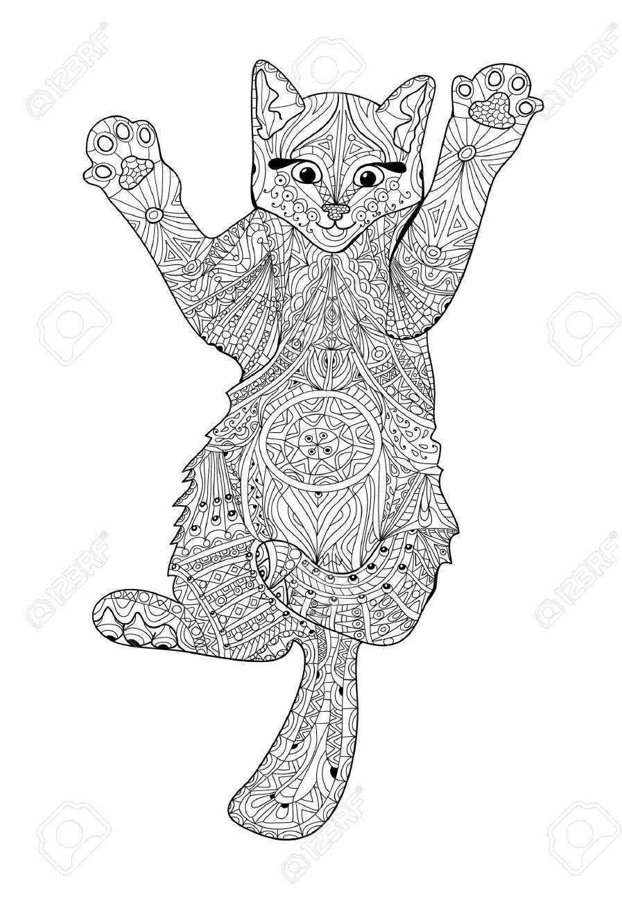 Chaton Drôle Livre De Coloriage Pour Adultes Livre De Chat Illustration Dessinée à La Main