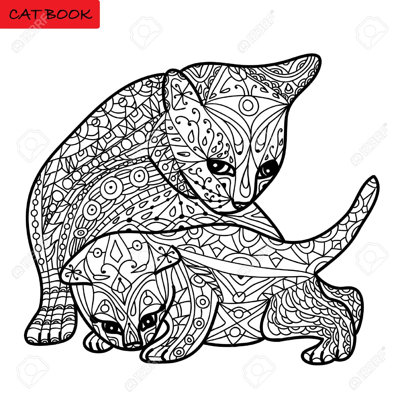 Cat Mother And Her Kitten - Coloring Book For Adults - Zentangle ...