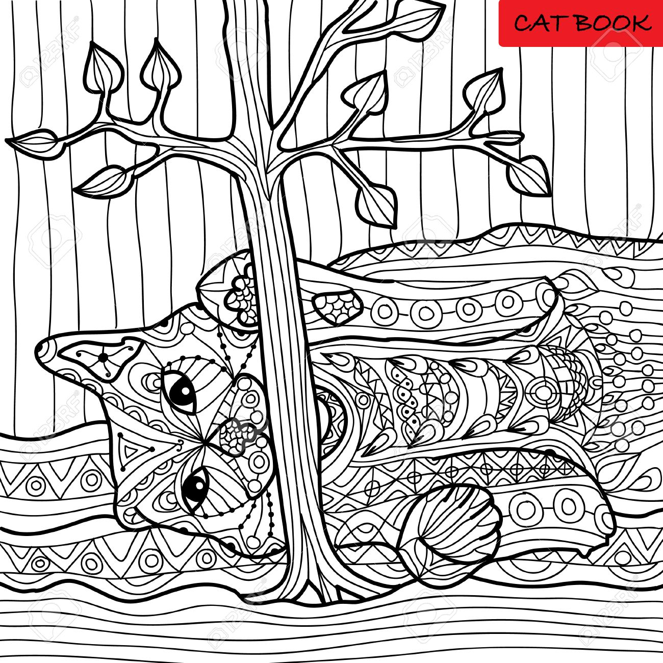Naughty Cat - Coloring Book For Adults, Zentangle Patterns, Hand ...